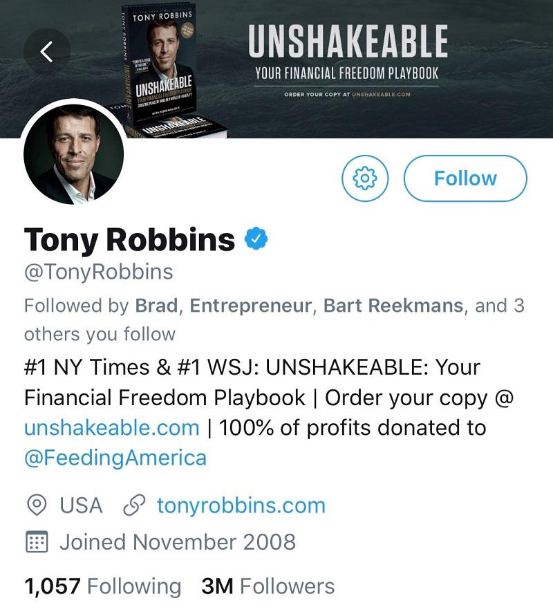 Tony Robbins Twitter Account